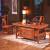 【京東好店】シュレイは古茶台の純木茶テーブルセットみあいわせ中国式南楡木カンフーテーブル馬到成功事務室茶室家具ブランド木業茶台+1*囲い椅子+4*牛角椅子